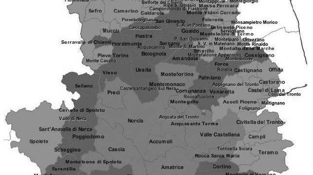 IL TERRITORIO COLPITO DAL SISMA DEL CENTRO ITALIA